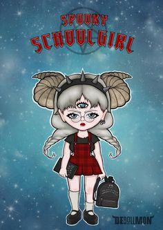 Spooky schoolgirl from the series DEdollMON
