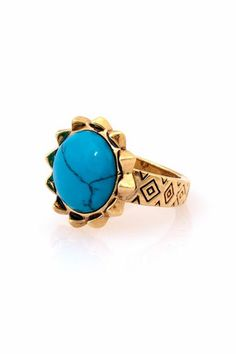 15 Standout Turquoise Baubles #refinery29  http://www.refinery29.com/turquoise-jewelry#slide10  House of Harlow 1960 Pyramid Engraved Spike Ring with Turquoise, $39, available at The Trend Boutique.