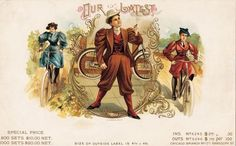 """Many [female cyclists on cigar box labels] were shown as decidedly masculine, with hair cut short or pulled back, and smoking cigars, then an almost exclusively male pursuit. This portrayal reflected the old fears that women in pants would somehow supplement men as breadwinners and decision-makers."""""""