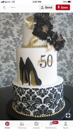 50th Birthday Cake For Mom Black And Gold 3 Tier