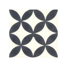 Lelie  Zwart wit cementtegel 20 x 20 x 1,6 cm