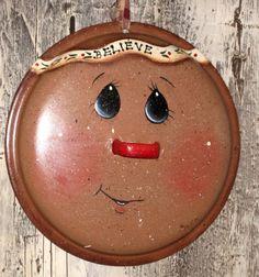 Gingerbread enamelware pot lid hand painted by KathysKountry, $12.00
