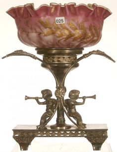 "WOW! 14 1/2"" VICTORIAN BRIDES BASKET. Pink satin mother-of-pearl ""herringbone"" pattern art glass bowl with green interior set on perfect fit Aurora silver plate cherub stand"