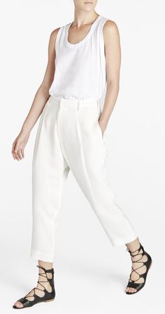 Bassike | Rambling Linen Pleat Front Pant at 70% off