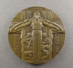 French-Medal-Woman-Marianne-Female-034-Passive-Defense-034-WWII-Art-Deco-By-Cochet