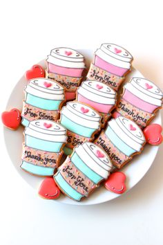 Got a coffee loving friend who's got a sweet tooth? Make these coffee cup shaped cookies for a humorous gift. And I know you can come up with better sayings for them too! Fancy Cookies, Valentine Cookies, Cute Cookies, Valentines, Coffee Cookies, Iced Cookies, Sugar Cookies, Cookie Frosting, Royal Icing Cookies