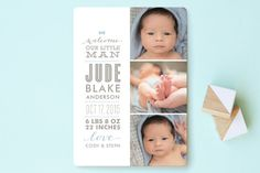 Little Man Birth Announcements by Lauren Chism at minted.com