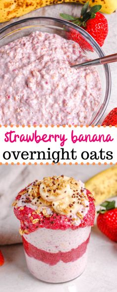 This strawberry banana overnight oats recipe is the best for a quick and easy healthy breakfast! Made with quick cooking oats, chia seeds, greek yogurt, and almond milk, these overnight oats pack a protein punch to keep you full until your next meal! Strawberry Overnight Oats, Overnight Oats With Yogurt, Easy Overnight Oats, Strawberry Banana, Strawberry Breakfast, Chia Seed Overnight Oats, Healthy Breakfast Options, Breakfast Recipes, Mexican Breakfast