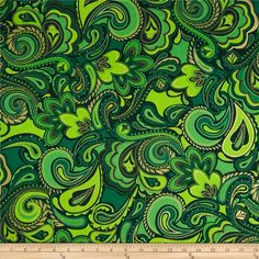 Kanvas Deck the Halls Metallic Holiday Paisley Green/Gold from @fabricdotcom  Designed by Greta Lynn for Kanvas in association with Benartex, this cotton print fabric is perfect for quilting, apparel and home decor accents. Colors include shades of green and black. Features gold metallic accents throughout.