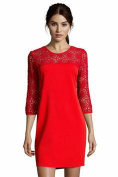 Boutique Laura Crepe And Crochet Shift Dress
