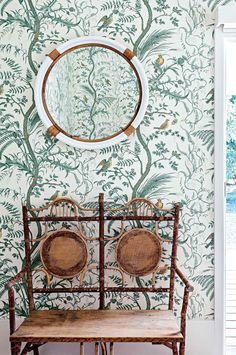brunschwig and fiks bird and thistle wallpaper serena and lily montrara mirror and antique cane love seat from rylstone