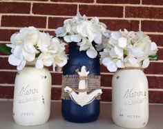 Items similar to Nautical Decor, Mothers Day, Wedding Decor, Beach Wedding, Anchor Hand Painted Mason Jar Set on Etsy Nautical Party, Nautical Wedding, Anchor Baby Showers, Painted Mason Jars, Mason Jar Crafts, Baby Boy Shower, Bridal Shower, Wedding Decorations, Hand Painted