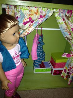 American Girl Doll armoire and bed from old wood drawers!