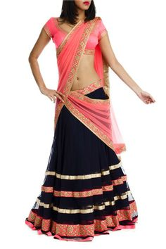 Pink and black half saree