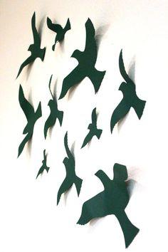 Flying Birds Wall Decor wall decals nursery, paper birds, multicolored, 3d bird wall decor