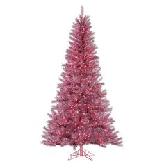 """4.5' x 27"""" Orchid Pink Tinsel 200 Clear Miniature Lights at eLightBulbs.com"""