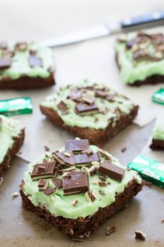 Chocolate Mint Andes Brownies topped with a thick layer of Peppermint Buttercream Frosting. Perfect for St Patrick's Day!