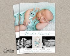 Birth Announcement Photo Card | Printable Newborn Announcement Cards With Dreamcatcher | DIY New Baby Boy Announcements With Dream Catcher by iDesignStationery on Etsy