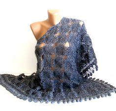 FREE SHIPPING gray crochet woman shawlwinterspring by seno on Etsy, $75.00