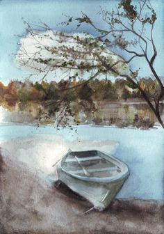 Beautiful painting!  Original watercolor painting little boat on the lake by HelgaMcL, $22.00