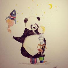 watercolor illustration for a boy #cute #panda #illustration #watercolor #boy