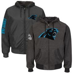fccb4886a Men s Carolina Panthers Heathered Gray Strike Reversible Full-Zip Hoodie