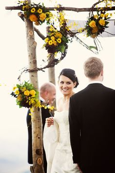 tree tabernacle wedding altar with yellow flowers