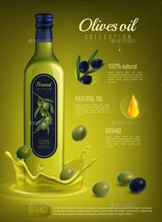 Buy Realistic Olive Oil Advertising Composition by macrovector on GraphicRiver. Realistic olive oil in glass bottle with label advertising composition on yellow green background vector illustration Olive Oil Packaging, Food Packaging, Packaging Design, Packaging Dielines, 3d Design, Design Ideas, Graphic Design, Logo Design, Plastic Bottle Design
