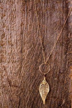 delicate gold leaf necklace