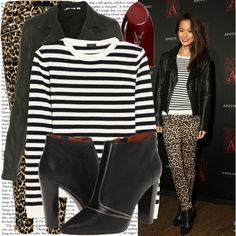 """All the hot elements: animal prints, leather jacket and leather boots! Protect your leather investment with the WhooHoo-Clean Leather Care. Available at http://www.amazon.com/Leather-Conditioner-Investment-Furniture-Leather/dp/B00EECWG7A. """"jamie chung at the apothic dark wine launch event"""" by cla-90 on Polyvore"""