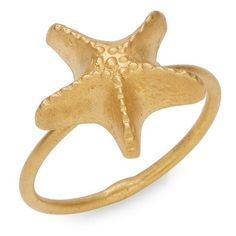 Valentino Starfish Slip-On Ring ($373) ❤ liked on Polyvore featuring jewelry, rings, gold jewellery, starfish jewelry, star fish jewelry, gold tone jewelry and star fish ring