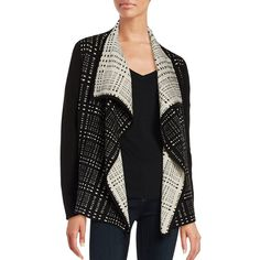 Ivanka Trump Patterned Flyaway Cardigan ($99) ❤ liked on Polyvore featuring tops, cardigans, black heather, long sleeve open front cardigan, patterned cardigans, ivanka trump, long sleeve tops and long sleeve cardigan