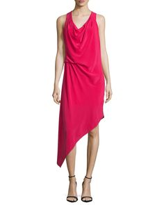 Haute Hippie Sleeveless Asymmetric Hem Dress, Raspberry, Women's, Size: L