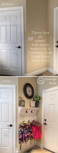 Downright Simple: Mudroom Entryway - Maximizing a Small Space Small Entryway Decor, Garage Entryway, Kitchen Entryway Ideas, Outdoor Entryway Ideas, Small Wall Decor, Foyer Ideas, Garage Door Makeover, Entry Way Decor Ideas, Mud Room In Garage