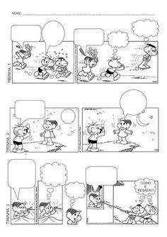 Resultado de imagem para historia em quadrinhos para produção de texto turma da monica