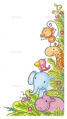 Buy Corner Frame with African Animals by katya_dav on GraphicRiver. Corner frame with cartoon African animals Cartoon Drawings, Easy Drawings, Doodle Art, Drawing For Kids, Art For Kids, Scrapbooking Image, Jungle Drawing, Kids Background, African Animals