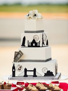 Simple yet interesting travel-themed wedding cake.