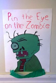 Pin the Eye on the Zombie, plants vs zombies party Kids Zombie Party, Zombie Birthday Parties, First Birthday Party Themes, Halloween Party Games, Halloween Birthday, Halloween Fun, Zombie Party Decorations, Halloween Cocktails, Carnival Birthday
