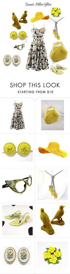 """Summer Mellow Yellow"" by kathysvintagejewels ❤ liked on Polyvore featuring Novelty, Andrew Geller and vintage"
