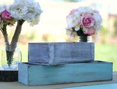 Set Of 2 Distressed Barn Wood Style Planter Vase Boxes (Item Number 140235) on Etsy, $34.99
