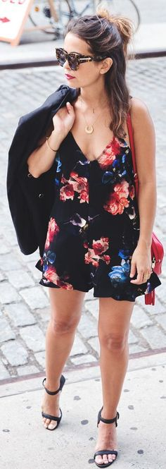 Black Multi Floral Playsuit by Collage Vintage #FashionInspiration