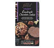 8 All butter cookies with Belgian dark chocolate, Belgian milk chocolate and Belgian white chocolate chunks, half coated in Belgian milk chocolate. Tesco Groceries, Chocolate Cookies, White Chocolate, Sweets, Beef, Desserts, Recipes, Food, Meat