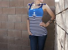 Olivia Paige Pin Up stripes  Anchor by OliviaPaigeClothing on Etsy, $22.00