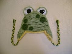 Mr Frog Crocheted Hat - Photo Prop - Available in Any Size or Color Combination