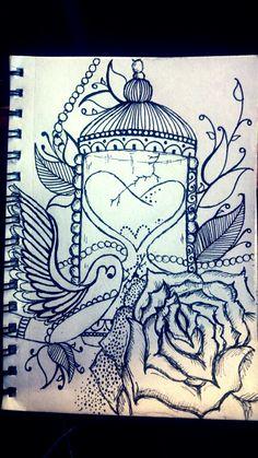 Birds and roses #birds #rose #lovedrawing #tattooideas #loveswirls #beads #leaves #blackandwhite