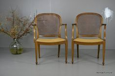 Pair French Style Bergere Cane Open Arm Occasional Chairs in Antiques, Antique Furniture, Chairs   eBay