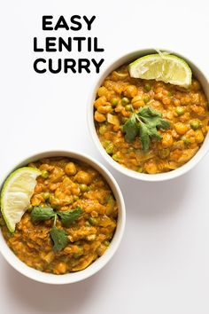 Easy Lentil Curry - This creamy curry comes together fast with packaged Indian curry paste, no salt added chickpeas, frozen veggies, coconut milk, and quick cooking red lentils.  You do have time to eat well with this easy curry!