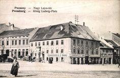 Pozsony-Bratislava (Prešporok)-Pressburg - Posonium, Louis the Great (in Poland Ludwik Węgierski) Square. Bratislava, Austro Hungarian, Old Street, Php, Budapest, Poland, Louvre, Europe, Building