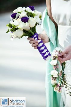 Great Ribbon detail on this Bridal Bouquet, and sweet floral crown.