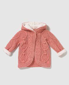 Chaqueta de bebe niña Brotes con borrego en rosa